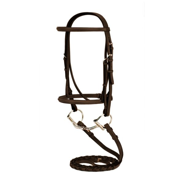 Silverleaf Plain Raised Snaffle Bridle-PONY
