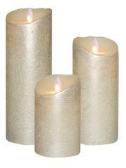 Real Wax LED Candle Bundle - Silver Metallic