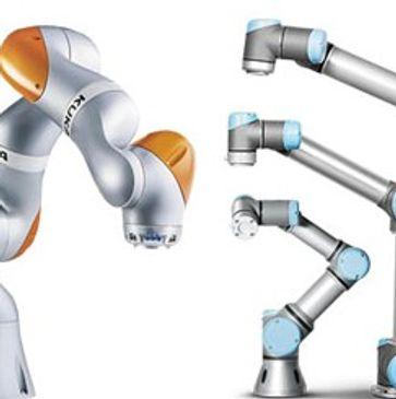 KUKA LBR iiwa and Universal Robot Range Facing each other - Cobot Solutions