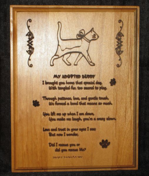 Adopted / Rescue Cat - Adoption Poem Plaque - Rectangle