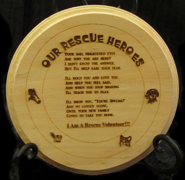 Rescue Pet Volunteers Plaque - Our Heroes