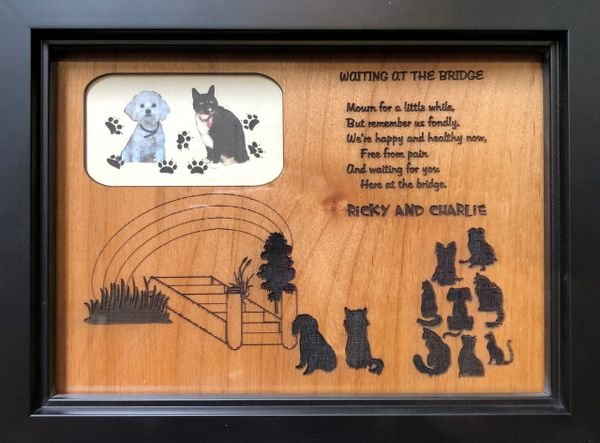 Waiting at the Bridge Pet Engraved Plaque - 5x7