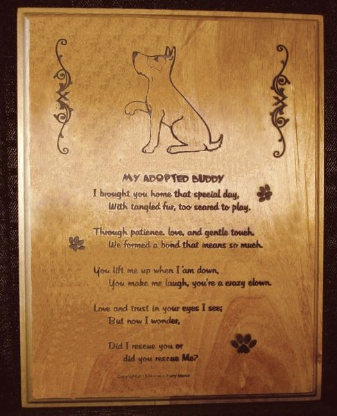 Adopted/Rescued Dog - Adoption Poem Plaque - Rectangle