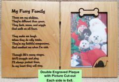 Engraved Pet Portrait Double Plaque - My Furry Family