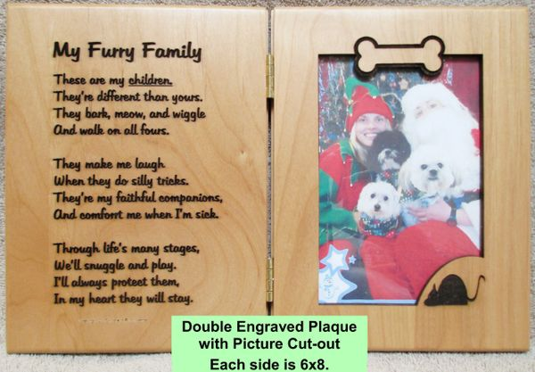 Furry Family Poem Engraved Alder Plaque with Place for your Pet Picture
