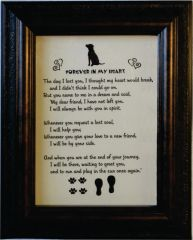 Loss of Dog Memorial Poem and Picture in Frame