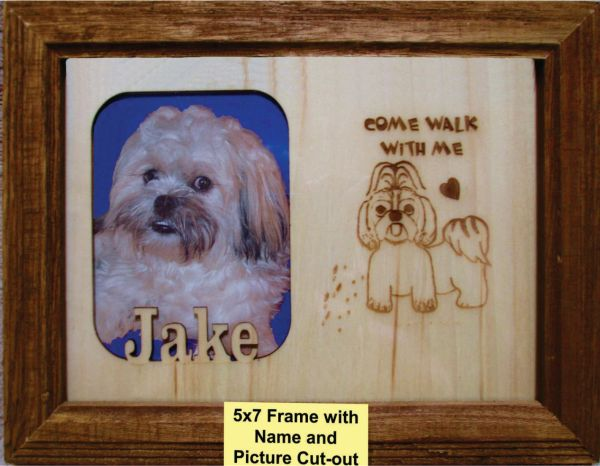 Custom Dog Breed Engraved Picture and Name in Frame - Come Walk (5x7)