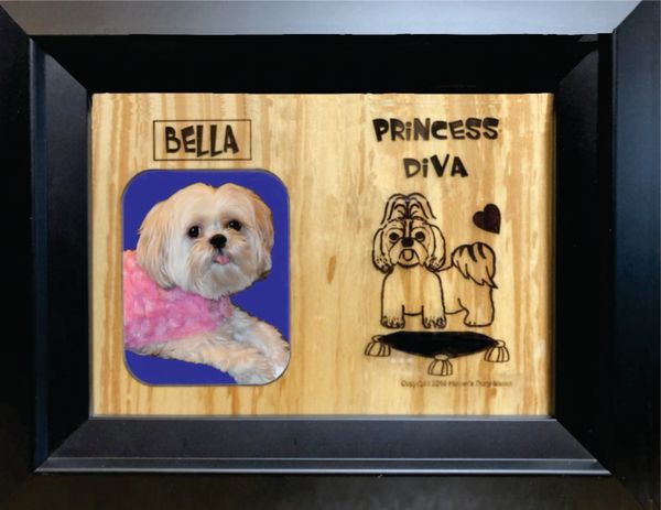 Custom Dog Breed Engraved Wood Picture in Frame - Princess Diva (5x7)