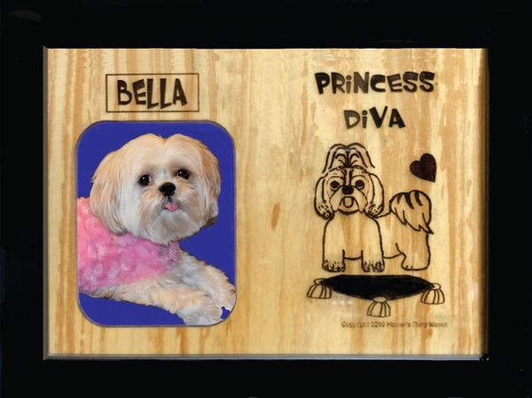 Custom Dog Breed Engraved Wood Picture in Frame - Princess Diva (8x10)