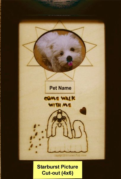 Custom Dog Breed Engraved Wood Picture in Frame - Come Walk with Me (4x6)