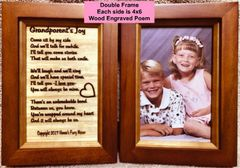 Engraved Double Picture Frame with Grandparent's Joy Poem and Your Picture