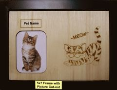 Custom Cat Breed Engraved Wood Picture in Frame - Meow (5x7)