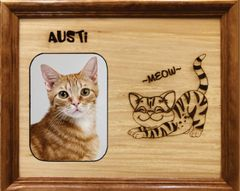 Custom Cat Breed Engraved Wood Picture in Frame - Meow (8x10)