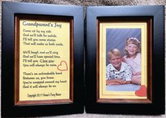 Grandparent's Joy Parchment Poem in Double Picture Frame with Your Picture