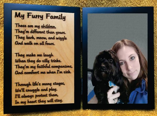 Furry Family Wood Engraved Poem in Double Picture Frame with Your Picture (4x6)