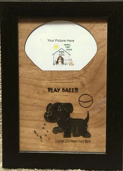 Custom Dog Breed Engraved Wood Picture in Frame - Play Ball (4x6)
