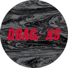 Dragons in Red Black Dragon Concrete 1 on Black Sandstone Car Coaster