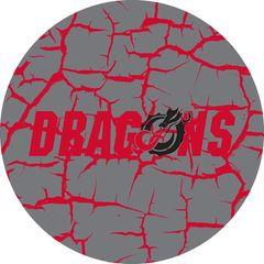 Dragons in Red Black Dragon Cracks 4 on Grey Sandstone Car Coaster
