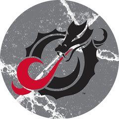 MSUM Black Dragon Cracks 1 on Grey Sandstone Car Coaster