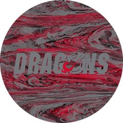 MSUM Dragons in Grey Concrete 1 on Red Sandstone Car Coaster