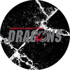 MSUM Dragons in Grey Cracks 1 on Black Sandstone Car Coaster