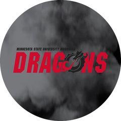 MSUM Dragons in Red Black Dragon Clouds 1 on Black Sandstone Car Coaster