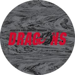 MSUM Dragons in Red Black Dragon Concrete 1 on Grey Sandstone Car Coaster