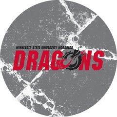 MSUM Dragons in Red Black Dragon Cracks 1 on Grey Sandstone Car Coaster
