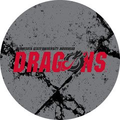 MSUM Dragons in Red Black Dragon Cracks 2 on Grey Sandstone Car Coaster