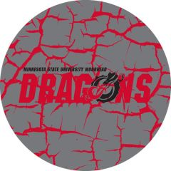 MSUM Dragons in Red Black Dragon Cracks 4 on Grey Sandstone Car Coaster
