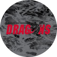 MSUM Dragons in Red Black Dragon Water 1 on Black Sandstone Car Coaster