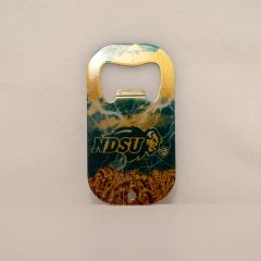 NDSU Primary Clouds Lightning and Wheat Credit Card Style Steel Bottle Opener