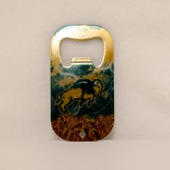 Bison Body Clouds Lightning and Wheat Credit Card Style Steel Bottle Opener