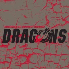 "MSUM Dragons Logo on Cracked background 1 4.25"" Ceramic Tile"