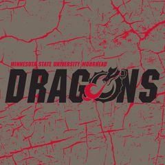 "MSUM Dragons Logo on Cracked background 3 4.25"" Ceramic Tile"