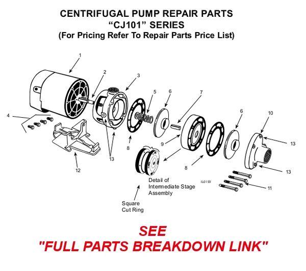 Order Flint & Walling CJ101 2 HP 3 Stage Pump Parts Here