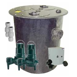 912-3036D 1/2HP 115V Duplex Pumps + Basin + Controls + Check Valves - Package