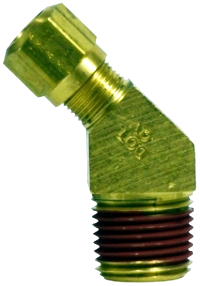 DOT Approved Brass Compression x MIP 45 Degree Adapter Ell