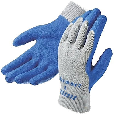 Armor Knit Gloves with Etched Latex Coated Palm, Large ,Blue