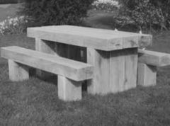 Sleeper Table & Two Benches
