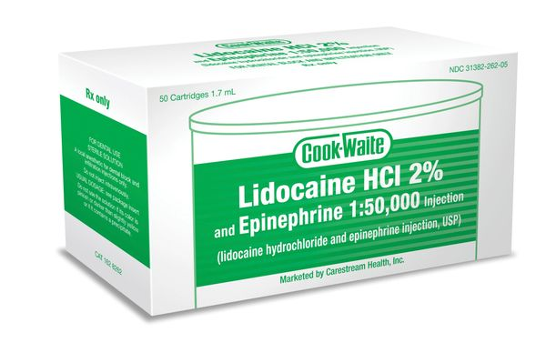COOK-WAITE LIDOCAINE GREEN 2% 1:50,000