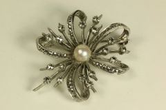 Silver pearl and marcasite stock pin
