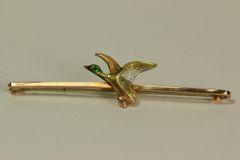 Gold platinum and enamel Mallard Duck stock pin