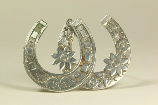 Silver double horseshoe stock pin