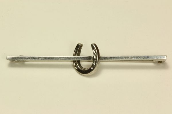 Silver horseshoe hunting stock pin