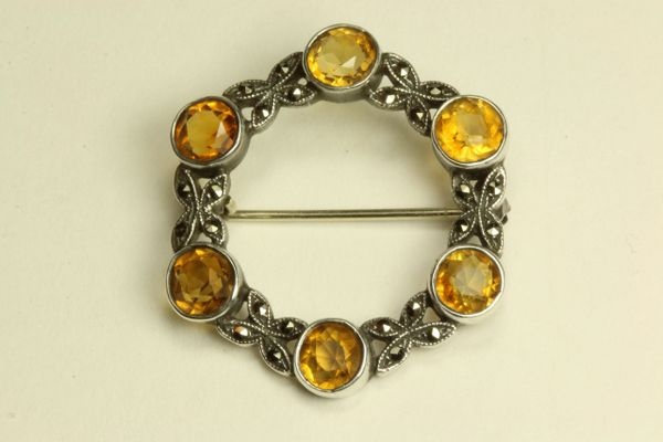 Silver marcasite and citrine stock pin