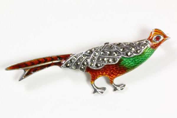 Silver and marcasite enamel pheasant