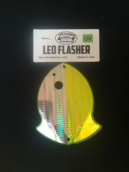 Small Leo Flasher Silver Snakeskin on Chartreuse