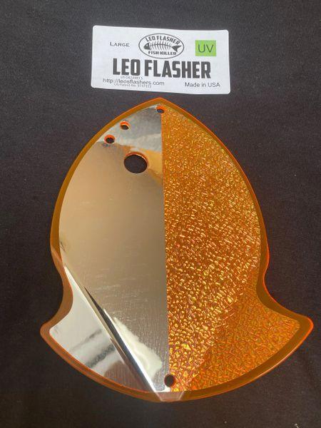 Large Leo Flasher Chrome / Crushed Pearl on Orange