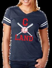 C Land Baseball Ladies V-neck